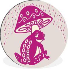 WallCircle Wandcirkel Kikker illustratie aluminium - Kleurrijke illustratie van een kikker onder een padenstoel - ⌀ 60 cm - rond schilderij - fotoprint op aluminium / dibond / muurcirkel / wooncirkel / tuincirkel (wanddecoratie)