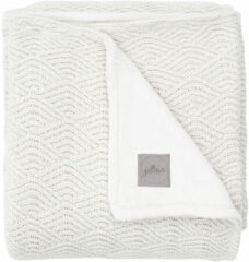 Witte Jollein baby wiegdeken 75x100 cm River knit cream white/coral fleece