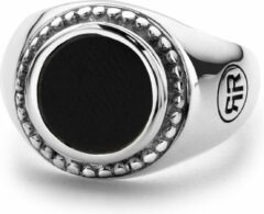Rebel & Rose Rebel and Rose RR-RG010-S Ring Women Round Onyx zilver-zwart Maat 56