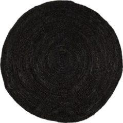 Bruine Rond jute vloerkleed Zwart/Antraciet 160cm - MrCarpet