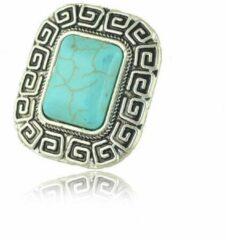 Yada Ring dames - Vintage verstelbaar - Natuur blauw - Vierkant