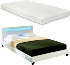 En.casa LED-Ledikant Parijs incl. matras bedbodem 160x200 wit