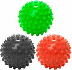 #DoYourFitness - 3 delige set massagebal - »Nica« - Lacrosse Bal / Fasciaball voor effectieve zelfmassage van triggerpoints - diameter 10cm - rood/zwart/groen