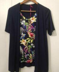 Merkloos / Sans marque Pink Lady dames blouse dubbel blauw / bloem - maat S