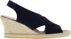 Blauwe Tango | Vanessa 2-a dk blue cross strap basic wedge espadrille - natural outsole | Maat: 38
