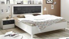 Pesaro Mobilia Tweepersoonsbed Perez 160x200cm in mat wit met hoogglans antraciet