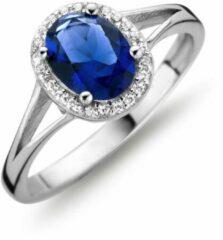 Transparante Velini jewels-R3045-64 -Ring -925 Zilver gerodineerd- Blauwe glazen steen met witte Cubic Zirkonia