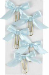 Creotime Paperclips Met Strik Lichtblauw 40 X 70 Mm 5 Stuks