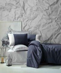 Cotton Box - Plain Ranforce Donkerblauw En Grijs - Dekbedovertrekset (100% Katoen) - 240X220 CM