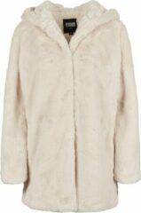 Gebroken-witte Urban classics Teddy - Coat - Hooded - Fake rabbit fur - extra zacht - capuchon - streetwear - Urban - Casual - Modern - Nieuw Hooded Teddy Dames Parka Maat 5XL