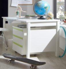 Schreibtisch mit Rollcontainer alpinweiss/ apfelgrün Wimex Bibi