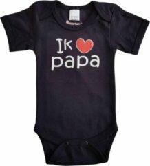 """Merkloos / Sans marque Zwarte romper met """"Ik hou van papa"""" - maat 80 - vaderdag, cadeautje, kraamcadeau, grappig, geschenk, baby, tekst"""