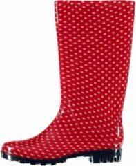 Apollo Lange/hoge dames regenlaarzen rood met roze stippen - Rubberen laarzen/regenlaarsjes dames 38