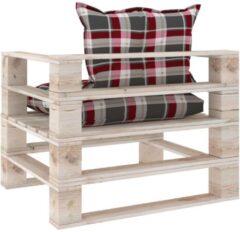 VidaXL Tuinbank met rood geruite kussens pallet grenenhout