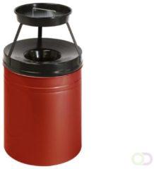 Vlamdovende papierbak met asbak 80 liter, rood/zwart