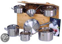 Zilveren Fissler Original Profi Collection 7-delige Kookpannenset in Houten Geschenk box