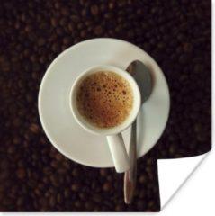 PosterMonkey Kopje espresso op koffiebonen poster 75x75 cm - Foto print op Poster (wanddecoratie woonkamer / slaapkamer)