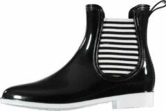 Apollo Zwarte korte dames regenlaarzen met gestreepte elastieken - Rubberen laarzen/regenlaarsjes dames 37