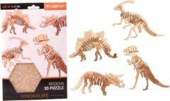Bruine Merkloos / Sans marque Houten 3D puzzel dinosaurus Parasaurolophus 21 cm - Dino bouwspeelgoed Parasaurolophus