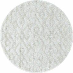 Creme witte Pisa Modern Design Rond Vloerkleed Laagpolig Creme - 120 CM ROND