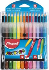 Maped Office Color'Peps COMBO PACK - 12 viltstiften LONG LIFE + 15 kleurpotloden - in etui