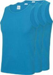 Awdis 3-Pack Maat S - Sport singlets/hemden blauw voor heren - Hardloopshirts/sportshirts - Sporten/hardlopen/fitness/bodybuilding - Sportkleding top blauw voor mannen
