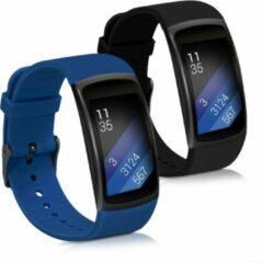 Kwmobile 2x horlogeband voor Samsung Gear Fit2 / Gear Fit 2 Pro - siliconen band voor fitnesstracker - donkerblauw / zwart