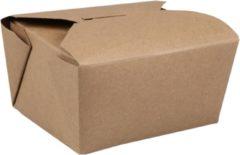 Bruine Fold-Pak Bak, Karton, 775ml, oosterse maaltijdbak, 127x114x64mm, bruin
