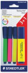 Staedtler Markeerstift Textsurfer Classic blister met 4 stuks: 1 x groen, 1 x roze, 1 x geel en 1 x ge...