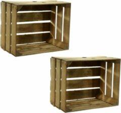 Bruine Merkloos / Sans marque Set van 6x stuks gebruikte houten fruitkisten 30 x 40 x 50 cm - Decoratie voor huis en tuin - Opbergen - kisten/kist