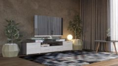 Licht-grijze Maxima House - EVORA S - TV Meubel - Hoogglans - Inclusief LED - Inclusief Glas - 195 cm - Grijs / Monaco Eiken - Modern Design