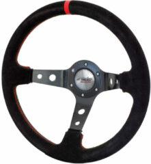 Universeel Simoni Racing Sportstuur Pit Lane 350mm - Zwart Alcantara + Rode stiksels (Deep Dish)