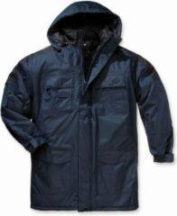 Marineblauwe Merkloos / Sans marque Heren thermoparka jas met capuchon blauw/zwart maat XL