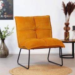 Bronx71 Moderne velvet fauteuil Malaga okergeel