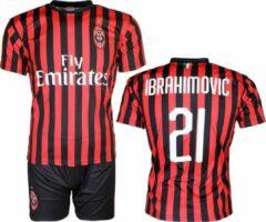 Merkloos / Sans marque AC Milan Replica Zlatan Ibrahimovic 21 Thuis Tenue Voetbal T-Shirt + Broek Set Seizoen 2019 / 2020 Zwart / Rood