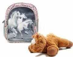 B&B Slagharen Rugtas Witte Paarden - Peuter Rugzak - 26cm - zilver glitter - Meisjes rugtas - schooltas - incl Paarden knuffel - pluche Pony - bruin
