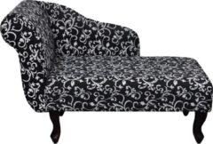Zwarte VidaXL Chaise longue stof met linker armsteun met bloemmotief zwart