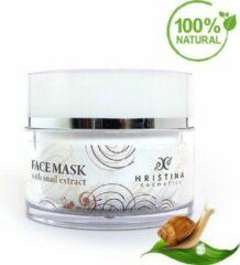 Creme witte Hristina Face Mask Slakken   Snail - Met Collageen, Elastine En Vitamine E 100ml