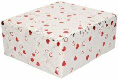 Shoppartners Inpakpapier/cadeaupapier metallic wit met rode hartjes en zilveren krullen 150 x 70 cm - kadopapier / cadeaupapier/papier