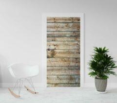 Bruine Kimano Deurposter - Luxe deursticker Houten planken - 201,5 x 93 cm