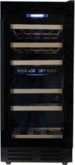 Zwarte Wijnklimaatkast.nl Wijnklimaatkast Premium met vol glazen deur - 32 Flessen