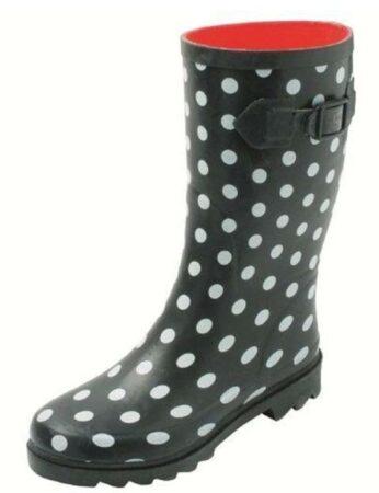 Afbeelding van Zwarte Gevavi Boots Stip dameslaars rubber zwart/wit 36