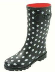 Zwarte Gevavi Boots Stip dameslaars rubber zwart/wit 36