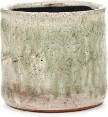 Serax Bloempot Flame Light Green-Groen-Wit H 11.5cm D 12.5cm