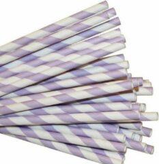 Joyenco Papieren rietjes lila gestreept - 50 stuks - duurzaam, 100% composteerbaar