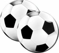 Rayher hobby materialen 40x Ronde voetbal themafeest servetten zwart/wit 16 x 15 cm papier - Zwart/wit papieren wegwerp tafeldecoraties