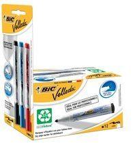Bic Velleda whiteboardmarker 1701 zwart, doos met 12 stuks + Liquid Ink whiteboardmarker, blister met 3 stuks