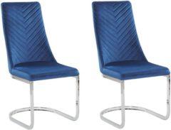 Blauwe Beliani Altoona Eetkamerstoel Set Van 2 Fluweel 58 X 46 Cm