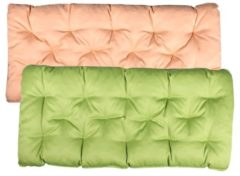 Bankauflage Sitzkissen mit Bänder 120x50 Gartenbank Auflage Bankpolster Wendeauflage Polsterauflage Meerweh grün/beige