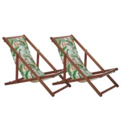 Beliani Strandstoel set van 2 acaciahout stof donkerbruin/meerkleurig ANZIO